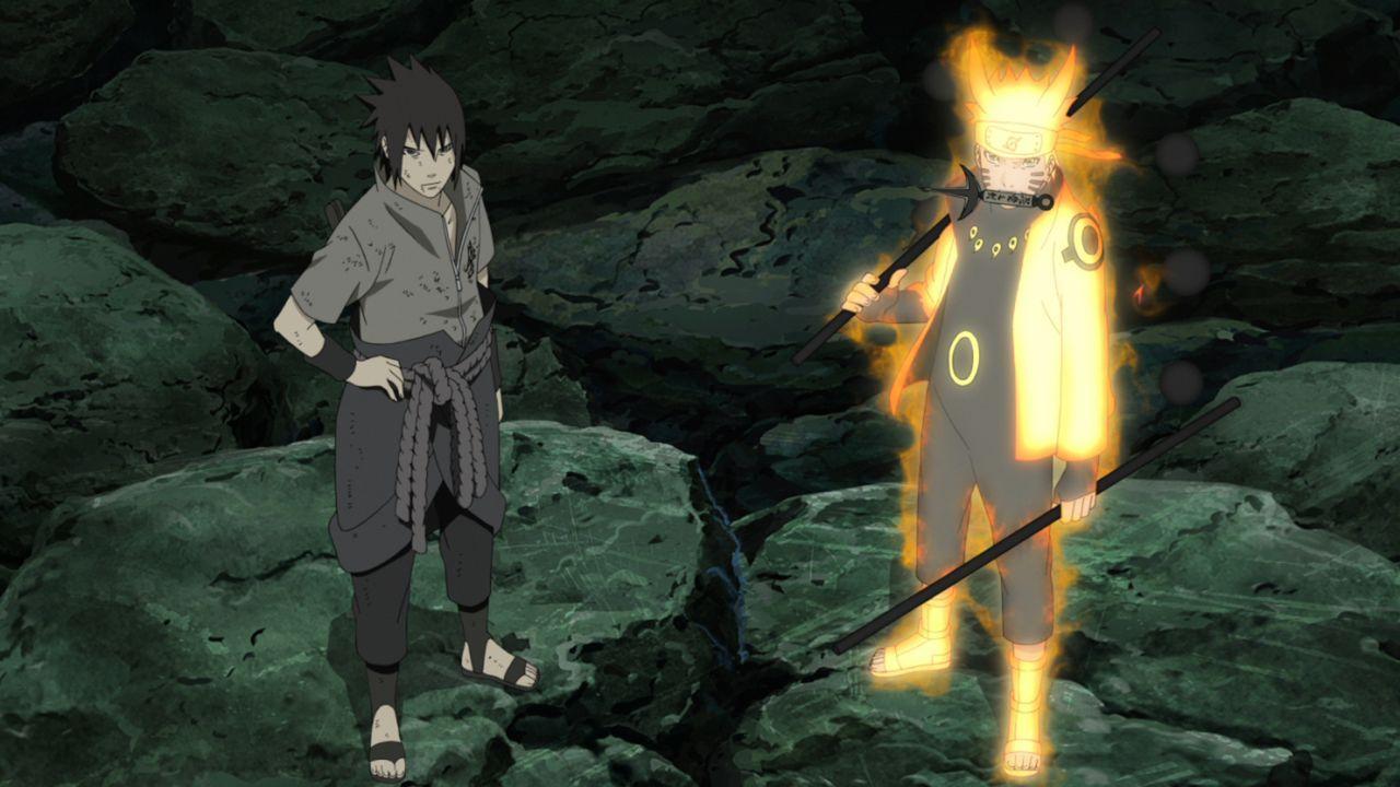 (v.l.n.r.) Sasuke, Naruto - Bildquelle: 2002 MASASHI KISHIMOTO / 2007 SHIPPUDEN