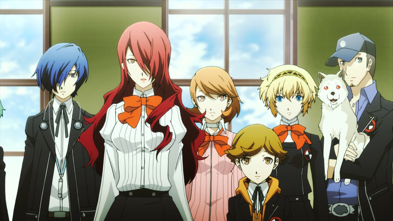 (v.l.n.r.) Makoto Yuki; Mitsuru Kirijo; Yukari Takeba; Ken Amada; Aigis; Koromaru; Junpei Iori - Bildquelle: ATLUS © SEGA/PERSONA3 the Movie Committee