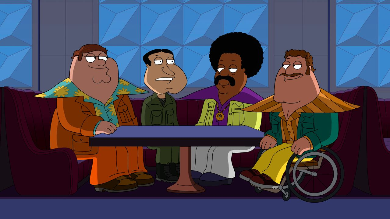 (v.l.n.r.) Peter Griffin; Glenn Quagmire; Cleveland Brown; Joe Swanson - Bildquelle: 2018-2019 Fox and its related entities. All rights reserved.