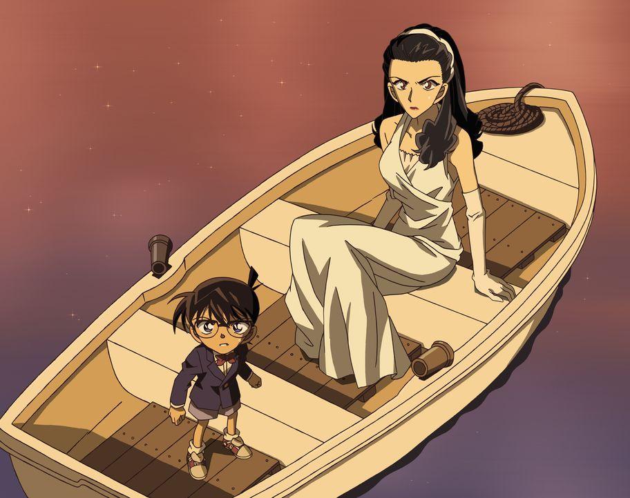 Nach der Generalprobe werden Conan (l.) und Reiko Akiba (r.) niedergeschlagen und finden sich in einem Boot wieder, das auf einem Fluss treibt. Doch... - Bildquelle: 2008 GOSHO AOYAMA/DETECTIVE CONAN COMMITTEE All Rights Reserved.