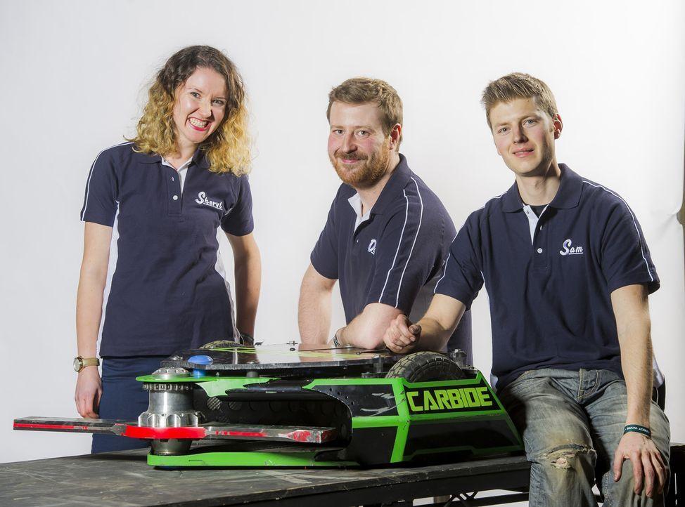 Team Carbide hofft, dass ihr Roboter den anderen Maschinen zeigt, wo es lang geht und am Ende in der Kampfarena siegt ... - Bildquelle: Alan Peebles