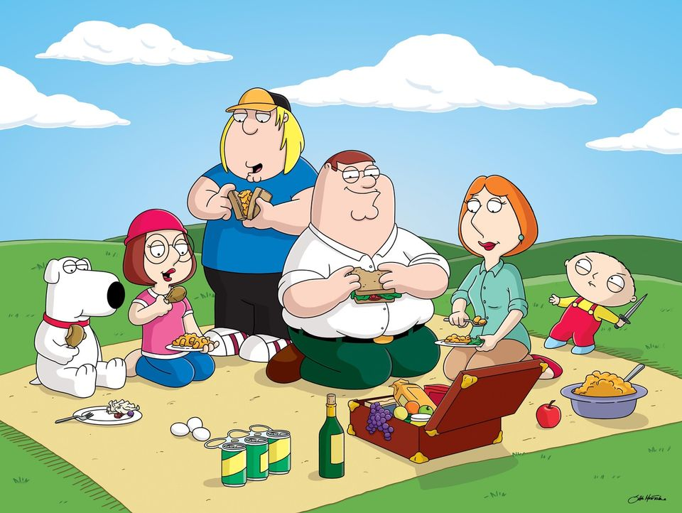 """(3. Staffel) - Die Griffins sind eine nach außen hin """"völlig normale"""" Familie: (v.l.n.r.) Brian, Meg, Chris, Peter, Lois und Stewie ... - Bildquelle: 2005 FAMILY GUY and TCFFC ALL RIGHTS RESERVED.    2005 FOX BROADCASTING"""