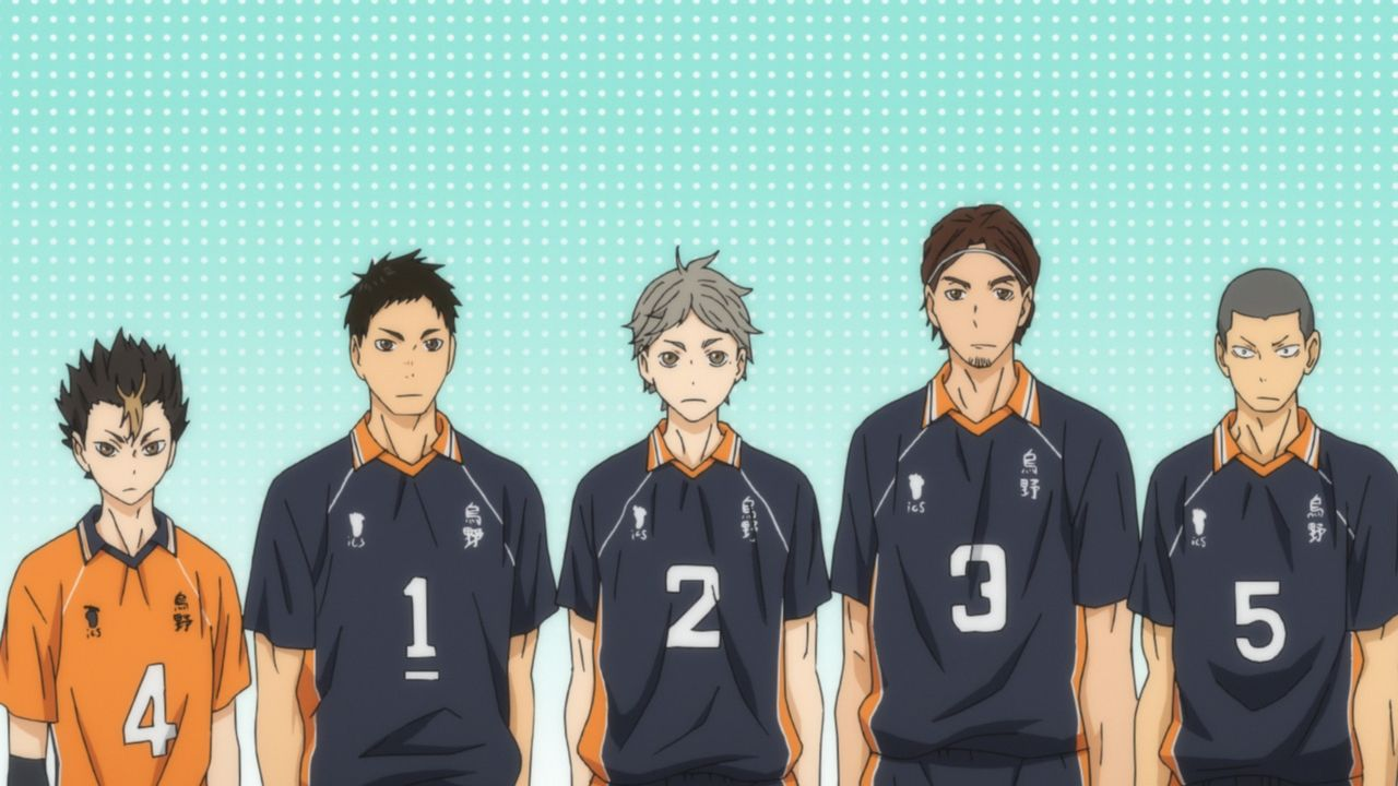 (v.l.n.r.) Yu Nishinoya; Asahi Azumane; Koshi Sugawara; Asahi Azumane; Ryunosuke Tanaka - Bildquelle: H. Furudate / Shueisha, >HAIKYU!! 2nd Season< Project, MBS  All Rights Reserved.