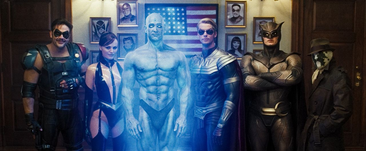 Wer wird die Wächter überwachen? (v.l.n.r.) die Superhelden und Watchmen The Comedian (Jeffrey Dean Morgan), Silk Spectre II (Malin Akerman), Dr.... - Bildquelle: Paramount Pictures