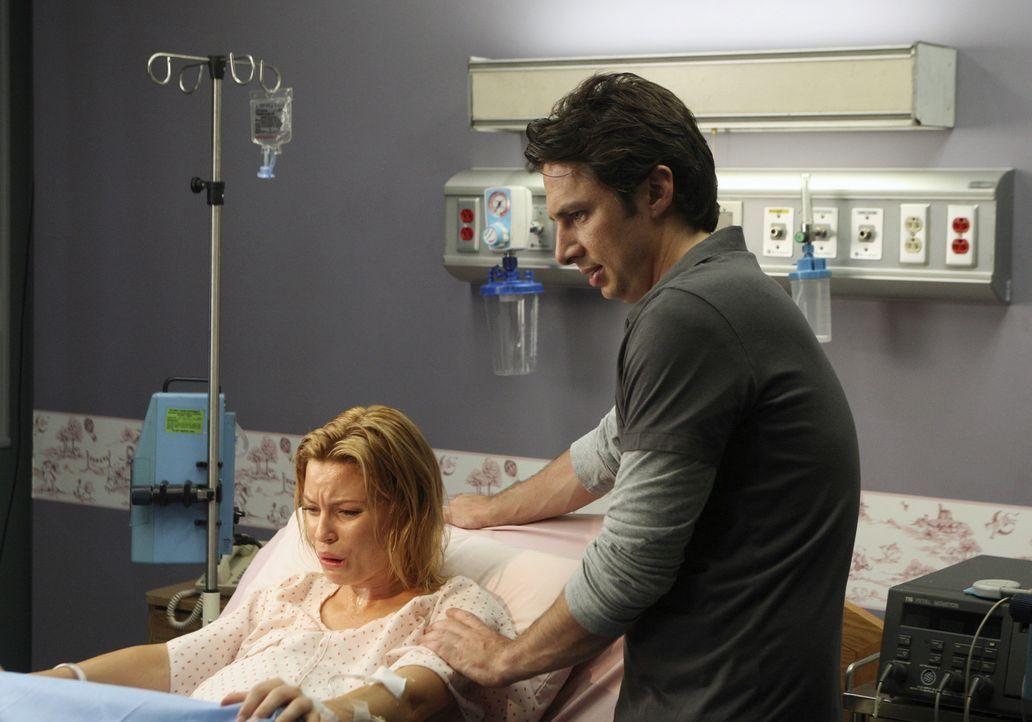 Die Geburt von ihres Sohnes steht kurz bevor: J.D. (Zach Braff, r.) will deshalb mit Kim (Elizabeth Banks, l.) zusammenbleiben, auch wenn er ihre Li... - Bildquelle: Touchstone Television