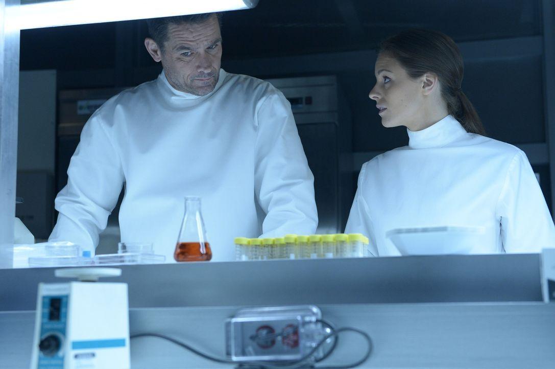 Während Alan (Billy Campbell, l.) und Sarah (Jordan Hayes, r.) noch immer glauben, es mit einer Erkrankung zu tun zu haben, machen Sutton und Hatake... - Bildquelle: 2014 Sony Pictures Television Inc. All Rights Reserved.