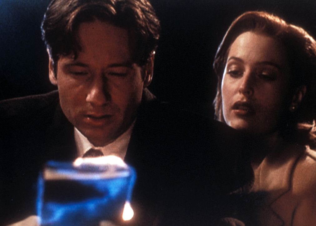 """Mulder (David Duchovny, l.) und Scully (Gillian Anderson, r.) bergen aus dem Grab eines ermordeten Juden ein """"Sefer Yeziah"""", das plötzlich in Flamme... - Bildquelle: TM +   Twentieth Century Fox Film Corporation. All Rights Reserved."""