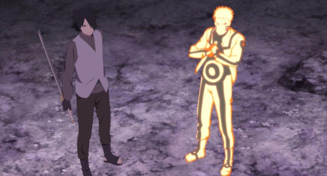 Narutos Sohn Boruto steht zwischen Naruto (r.) und dessen ehemaligem Kontrahenten Uchiha Sasuke (l.), der ihn für die bevorstehende Chunin-Prüfung t... - Bildquelle: 2002 MASASHI KISHIMOTO /2007 Shippuden   NMP 2015