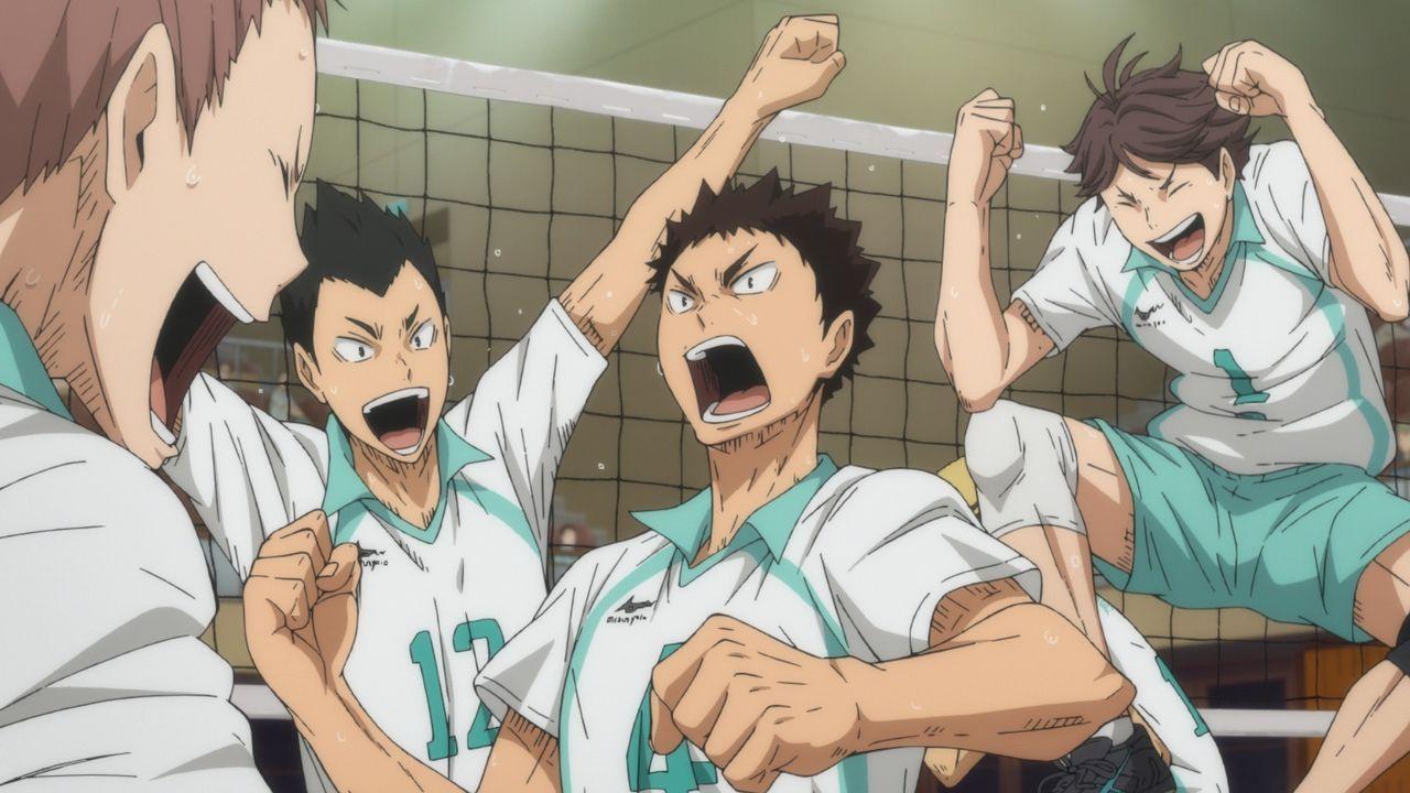 (v.l.n.r.) Takahiro Hanamaki; Yutaro Kindaichi; Hajime Iwaizumi; Toru Oikawa - Bildquelle: H. Furudate / Shueisha, >HAIKYU!! 2nd Season< Project, MBS  All Rights Reserved.