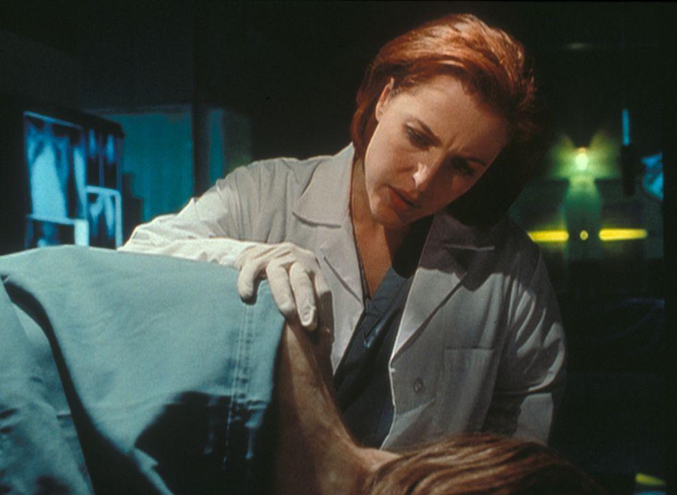 Scully (Gillian Anderson) stellt an der Leiche eines anscheinend vom Blitz getroffenen Mädchens erhebliche Wirbelsäulen-Deformationen fest. - Bildquelle: TM +   2000 Twentieth Century Fox Film Corporation. All Rights Reserved.