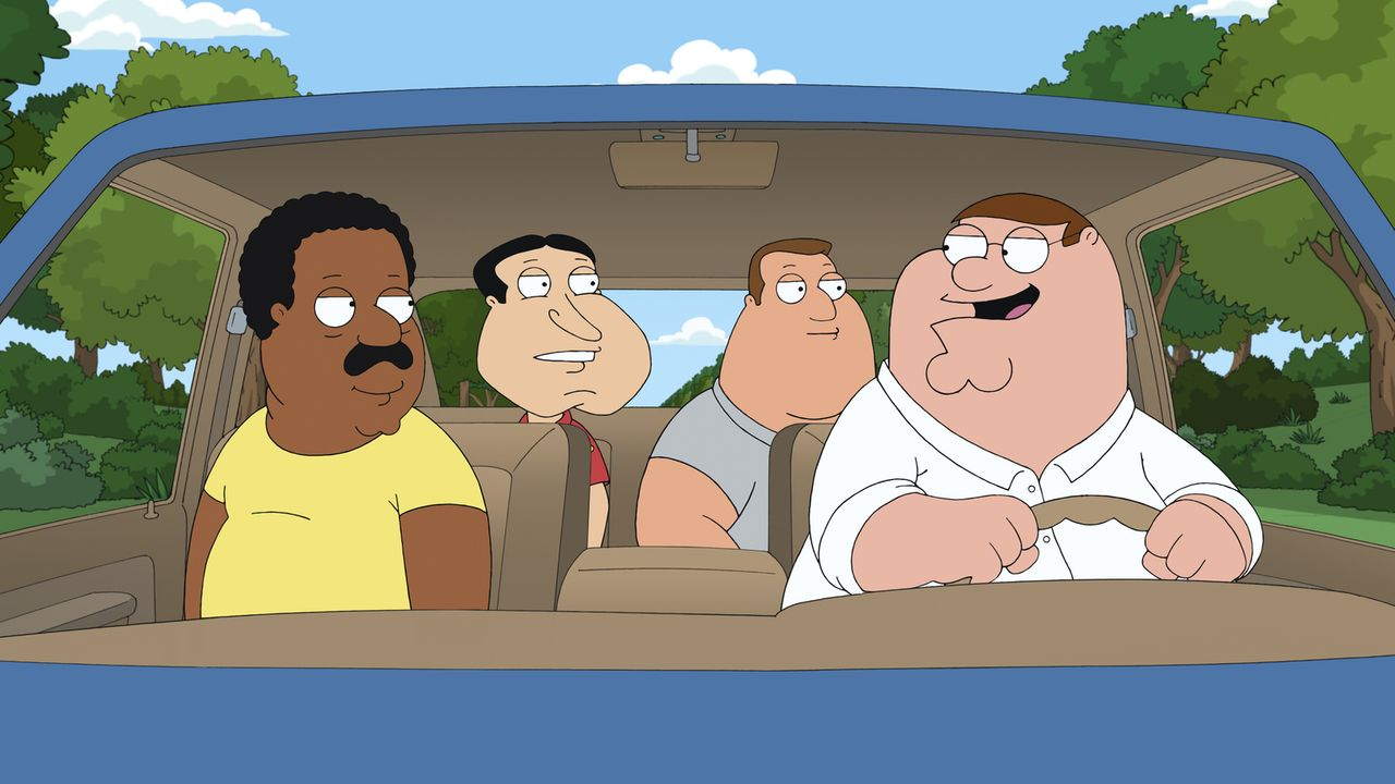 Peter (r.), Cleveland (l.), Joe (2.v.r.) und Quagmire (2.v.l.) beschließen, einen Road Trip zu machen, um ihren Frauen und ihrem Alltag zu entfliehe... - Bildquelle: 2011 Twentieth Century Fox Film Corporation. All rights reserved.