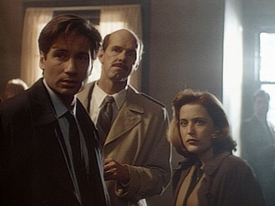 Die FBI-Agenten Mulder (David Duchovny, l.), Bruskin (Jackson Davies, M.) und Scully (Gillian Anderson, r.) sind erstaunt, als der spurlos verschwun... - Bildquelle: TM +   Twentieth Century Fox Film Corporation. All Rights Reserved.