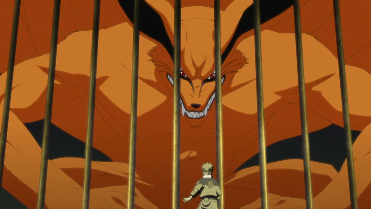 Kyuubi (hinten); Naruto Uzumaki (vorne) - Bildquelle: 2002 MASASHI KISHIMOTO / 2007 SHIPPUDEN
