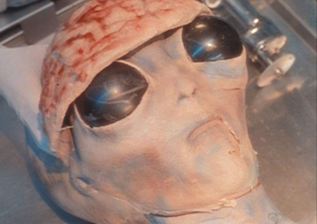 """Unter der täuschend echten Maske eines toten """"Außerirdischen"""" verbirgt sich die Leiche eines Air-Force-Piloten. - Bildquelle: TM +   Twentieth Century Fox Film Corporation. All Rights Reserved."""