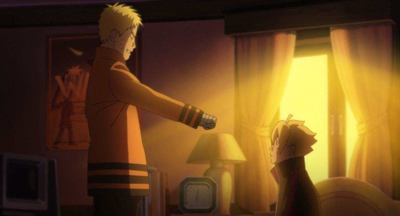 Nachdem Boruto (r.) sich einmal mehr von seinem Vater Naruto (l.) vernachlässigt fühlt, sucht er dessen ehemaligen Kontrahenten Uchiha Sasuke auf, u... - Bildquelle: 2002 MASASHI KISHIMOTO /2007 Shippuden   NMP 2015