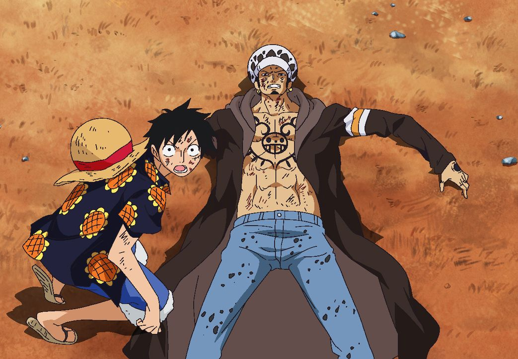 Ruffy (l.); Trafalgar D. Law - Bildquelle: Eiichiro Oda/Shueisha, Toei Animation