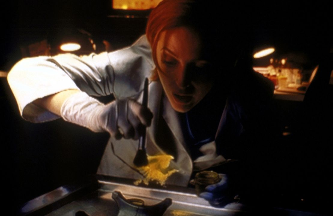 Scully (Gillian Anderson) versucht, die unsichtbare Leiche wieder sichtbar zu machen, um sie obduzieren zu können. - Bildquelle: TM +   2000 Twentieth Century Fox Film Corporation. All Rights Reserved.
