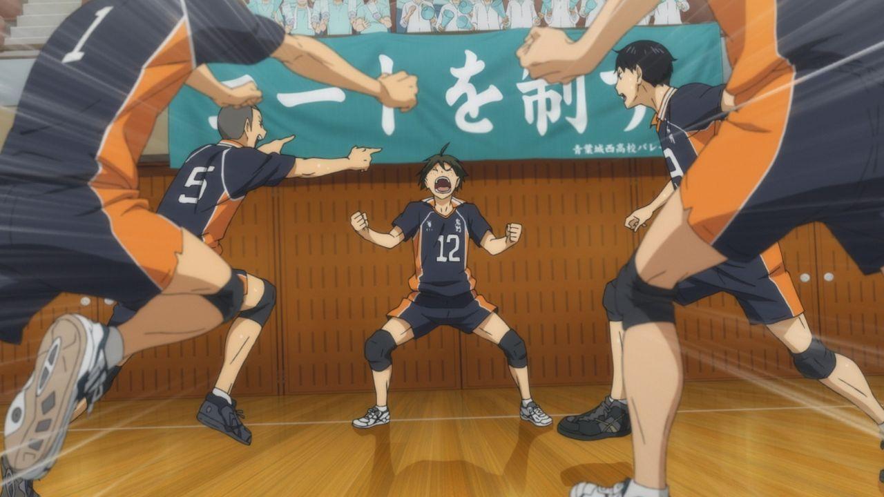 "(v.l.n.r.) Ryunosuke Tanaka; Tadashi Yamaguchi; Tobio Kageyama - Bildquelle: H. Furudate / Shueisha, ""HAIKYU!! 2nd Season"" Project, MBS  All Rights Reserved."