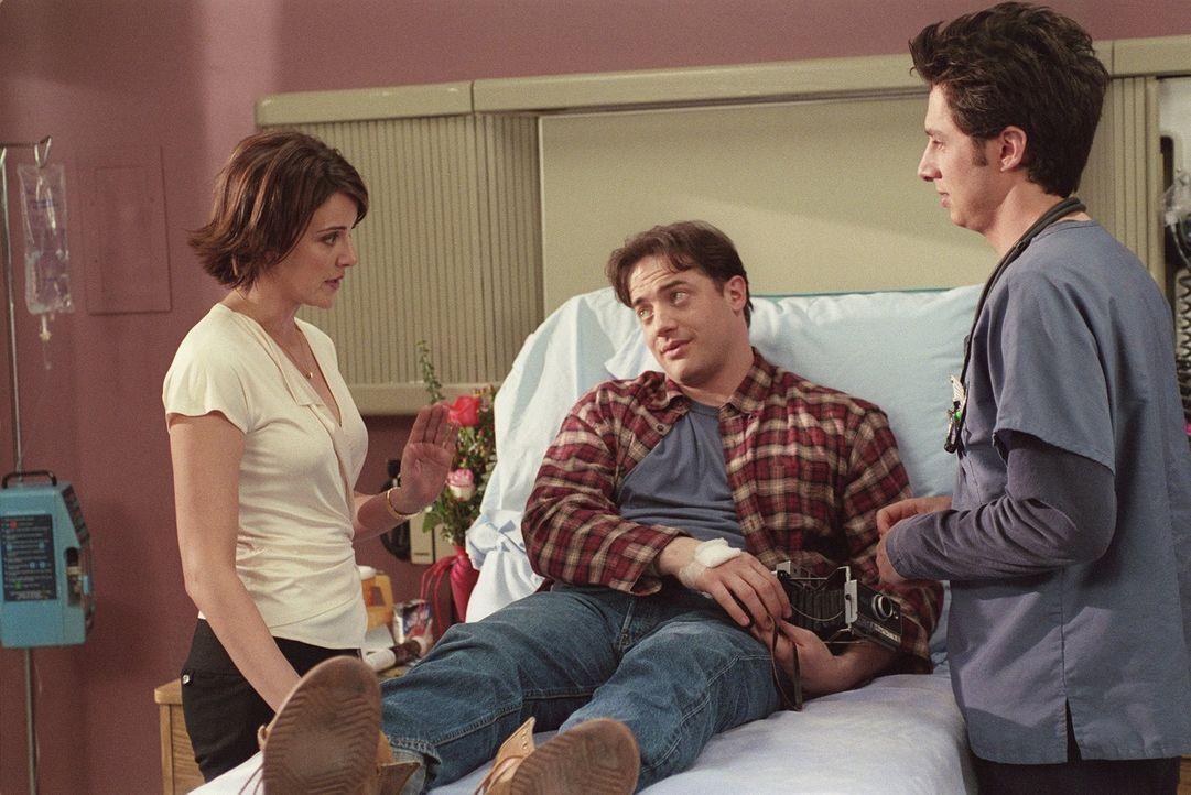 Ben (Brendan Fraser, M.) zeigt einige Symptome, die auf Leukämie schließen lassen, obwohl Bluttests die Vermutung bestätigen, hat J.D. (Zach Braff,... - Bildquelle: Touchstone Television