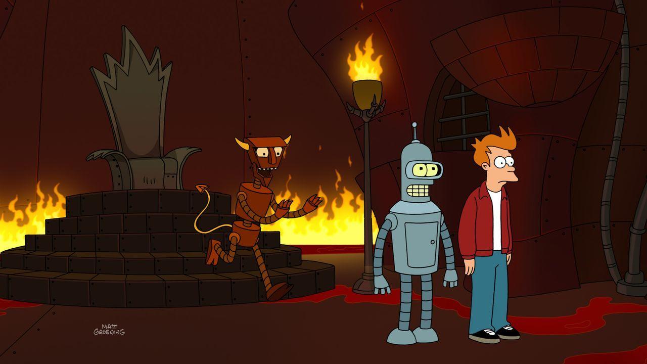 """Seit Calculons tragischem Tod vor über einem Jahr sind Bender (M.) und Fry (r.) verzweifelt, denn ihre  Lieblingsserie """"Alle meine Schaltkreise"""", in... - Bildquelle: Twentieth Century Fox Film Corporation. All rights reserved."""