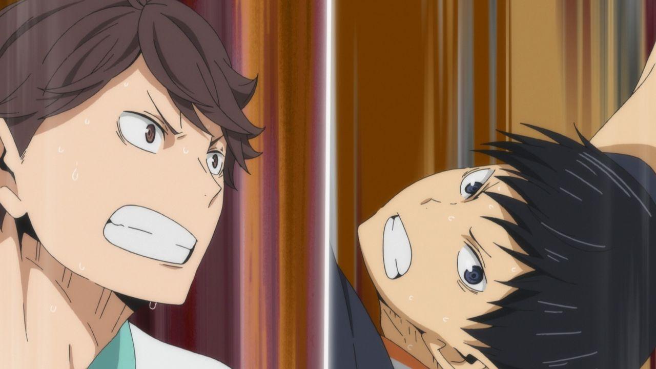 "(v.l.n.r.) Toru Oikawa; Tobio Kageyama - Bildquelle: H. Furudate / Shueisha, ""HAIKYU!! 2nd Season"" Project, MBS  All Rights Reserved."