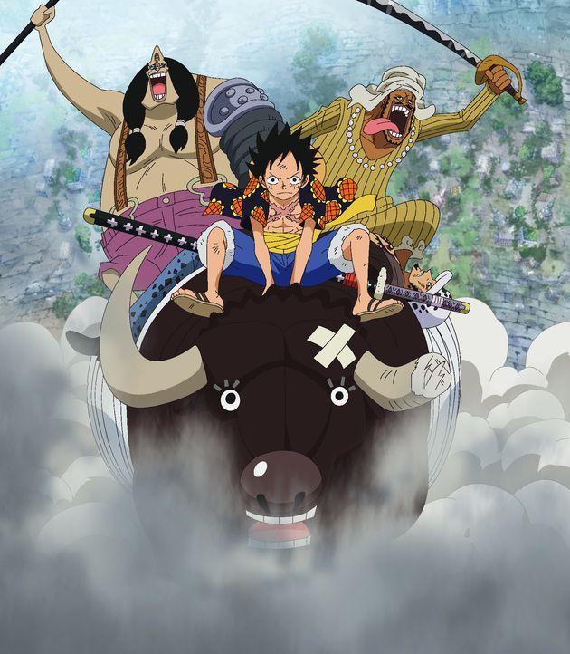 (hinten v.l.n.r.) Abdullah; Jeet; Law; Ruffy (vorne oben); Moocy (vorne unten) - Bildquelle: Eiichiro Oda/Shueisha, Toei Animation