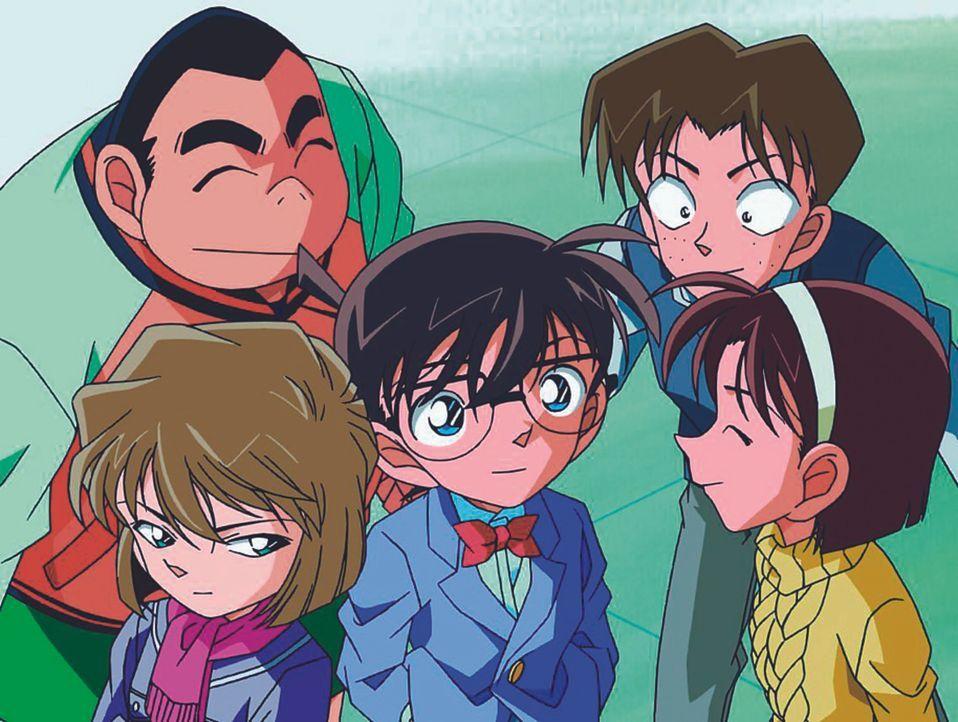 Um seine wahre Identität zu verheimlichen, muss Conan (M.) wieder die Grundschule besuchen, wo er mit seinen Mitschülern Ayumi (r.), Genta (l.), Mit... - Bildquelle: Gosho Aoyama / Shogakukan, YTV, TMS 1996
