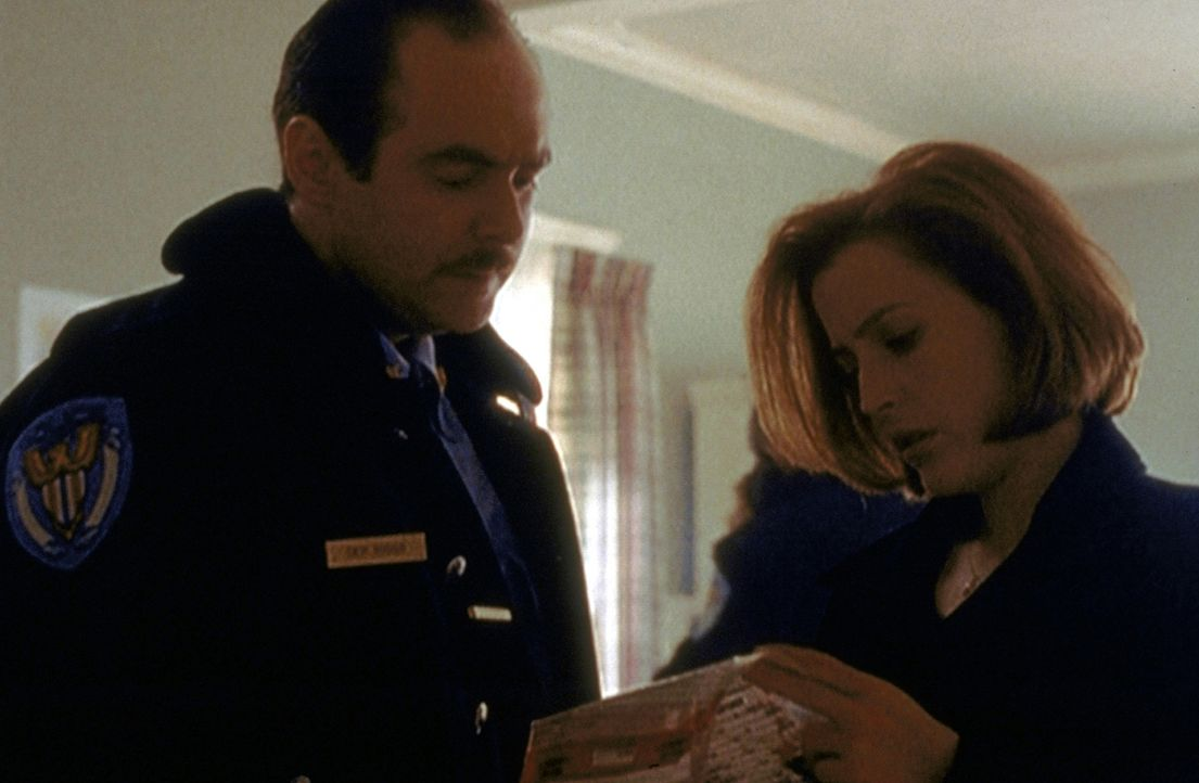 Scully (Gillian Anderson, r.) und Polizei-Chief Jack Bonsaint (Larry Musser, l.) recherchieren in einem mysteriösen Fall von Massenhysterie. - Bildquelle: TM +   2000 Twentieth Century Fox Film Corporation. All Rights Reserved.