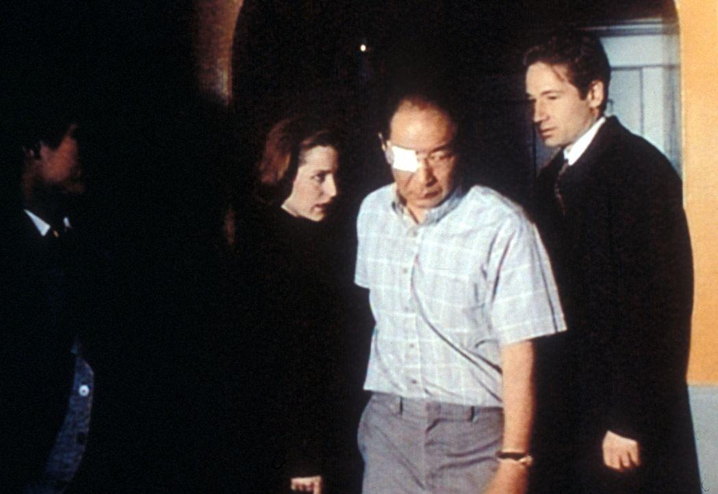 Scully (Gillian Anderson, 2.v.l.) und Mulder (David Duchovny, r.) möchten von Mr. Hsin (Michael Yama, 2.v.r.) wissen, wer ihm den Auftrag gegeben ha... - Bildquelle: TM +   2000 Twentieth Century Fox Film Corporation. All Rights Reserved.