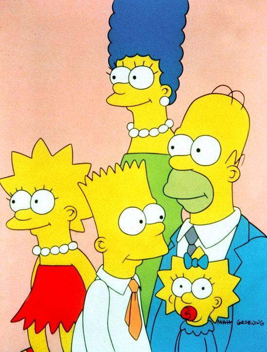 (1. Staffel) - Marge (M.) und Homer (r.) haben nicht immer nur Freude an ihren chaotischen Kindern Lisa (l.), Bart (2.v.l.) und Maggie (2.v.r.). - Bildquelle: und TM Twentieth Century Fox Film Corporation - Alle Rechte vorbehalten