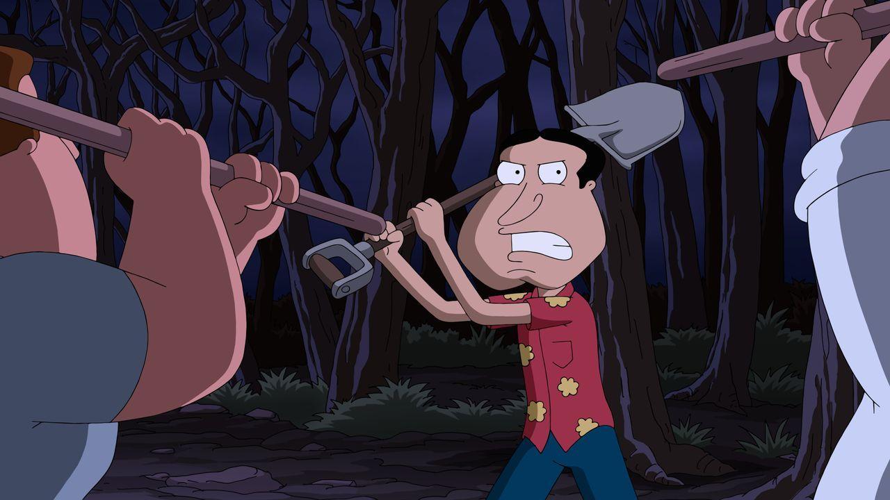 Um sich für einen Horrorfilm inspirieren zu lassen, begeben sich Peter, Joe, Cleveland und Quagmire (Bild) des Nachts in ein altes, verlassenes Irre... - Bildquelle: 2015-2016 Fox and its related entities. All rights reserved.