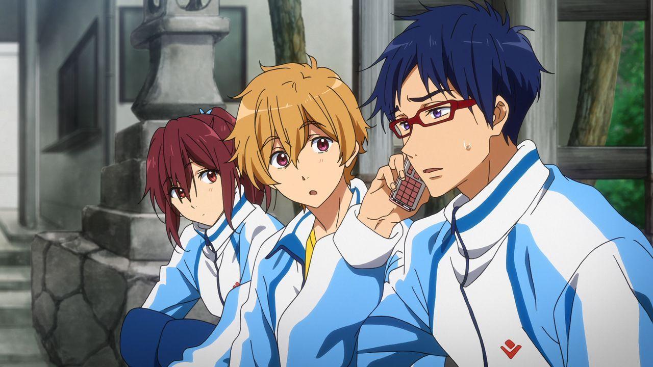 (v.l.n.r.) Go Matsuoka; Nagisa Hazuki; Rei Ryugazaki - Bildquelle: 2017 Ohji Kouji/Kyoto Animation/Iwatobi High School Swimming Club TYM Production Committee
