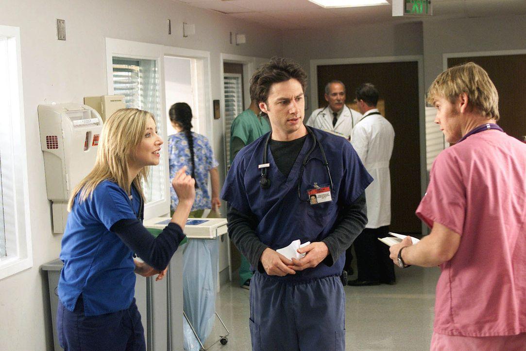 Zur großen Verärgerung von J.D (Zach Braff, M.). und Co. wird in der Klinik das Erscheinen eines Kollegen namens Dr. Fisher (Jay Mohr, r.) angekündi... - Bildquelle: Touchstone Television