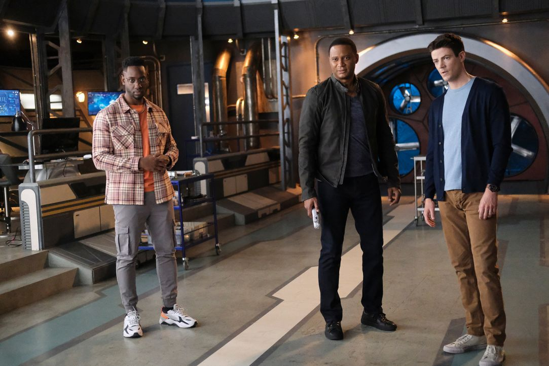(v.l.n.r.) Chester P. Runk (Brandon McKnight); John Diggle (David Ramsey); Barry Allen (Grant Gustin) - Bildquelle: Warner Bros. Entertainment Inc. All Rights Reserved.