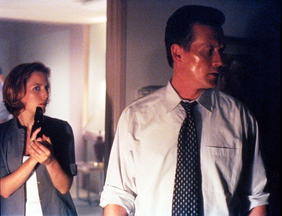 Scully (Gillian Anderson, l.) und Doggett (Robert Patrick, r.) sind am Fundort der Leiche eines entführten Jungen eingetroffen. - Bildquelle: TM +   2000 Twentieth Century Fox Film Corporation. All Rights Reserved.