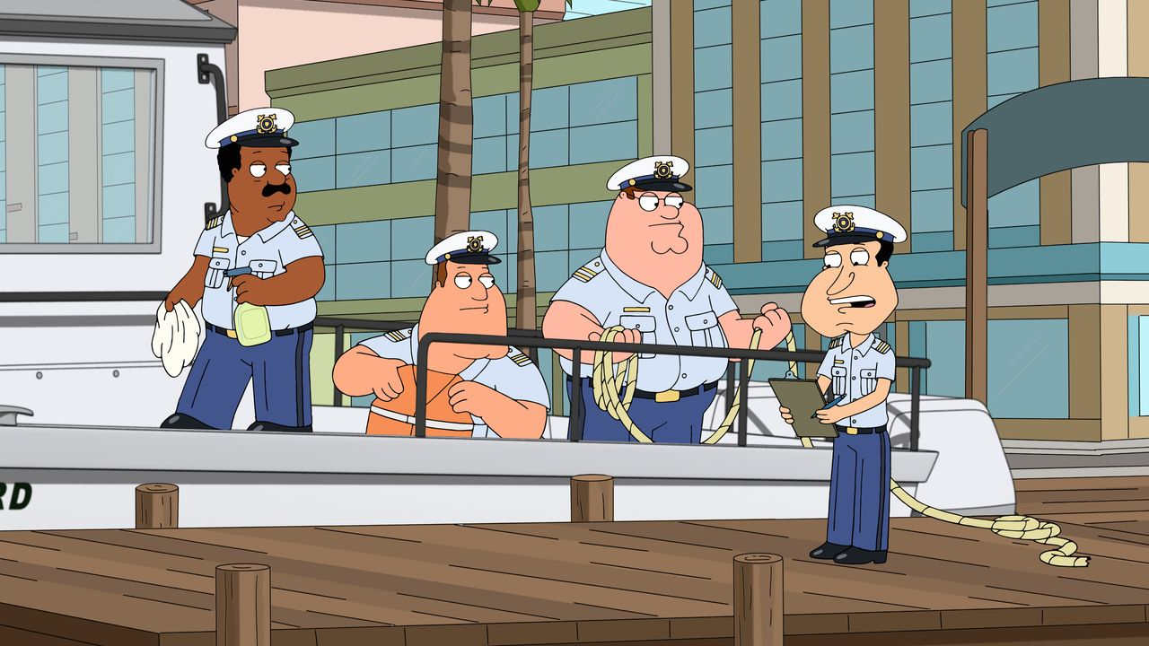 (v.l.n.r.) Cleveland Brown; Joe Swanson; Peter Griffin; Glen Quagmire - Bildquelle: 2018-2019 Fox and its related entities. All rights reserved.