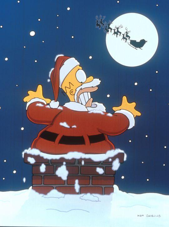 Homer nimmt einen Nebenjob als Weihnachtsmann an, damit er seine Familie mit Geschenken zu Weihnachten überraschen kann. - Bildquelle: und TM Twenthieth Century Fox Film Corporation - Alle Rechte vorbehalten