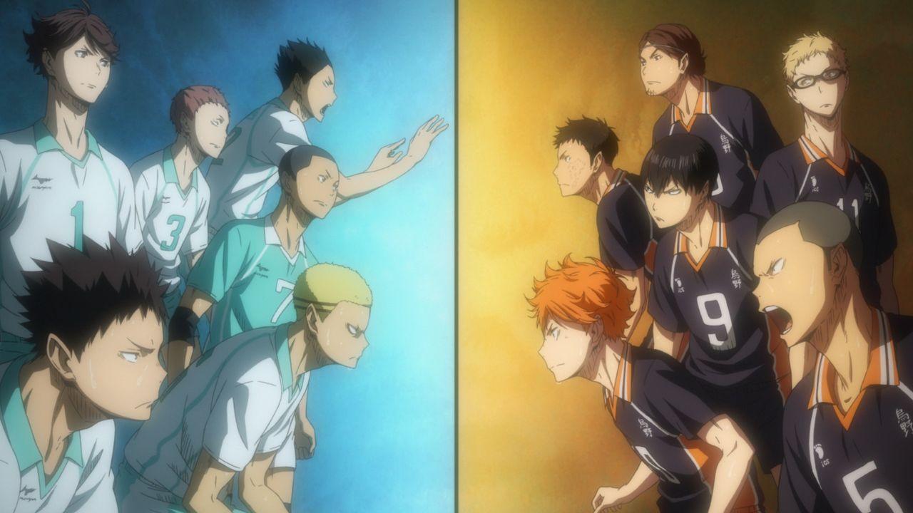 (v.l.n.r.) Toru Oikawa; Hajime Iwaizumi; Takahiro Hanamaki; Yutaro Kindaichi; Shinji Watari; Kentaro Kyotani; Shoyo Hinata; Daichi Sawamura; Tobio K... - Bildquelle: H. Furudate / Shueisha, >HAIKYU!! 2nd Season< Project, MBS  All Rights Reserved.