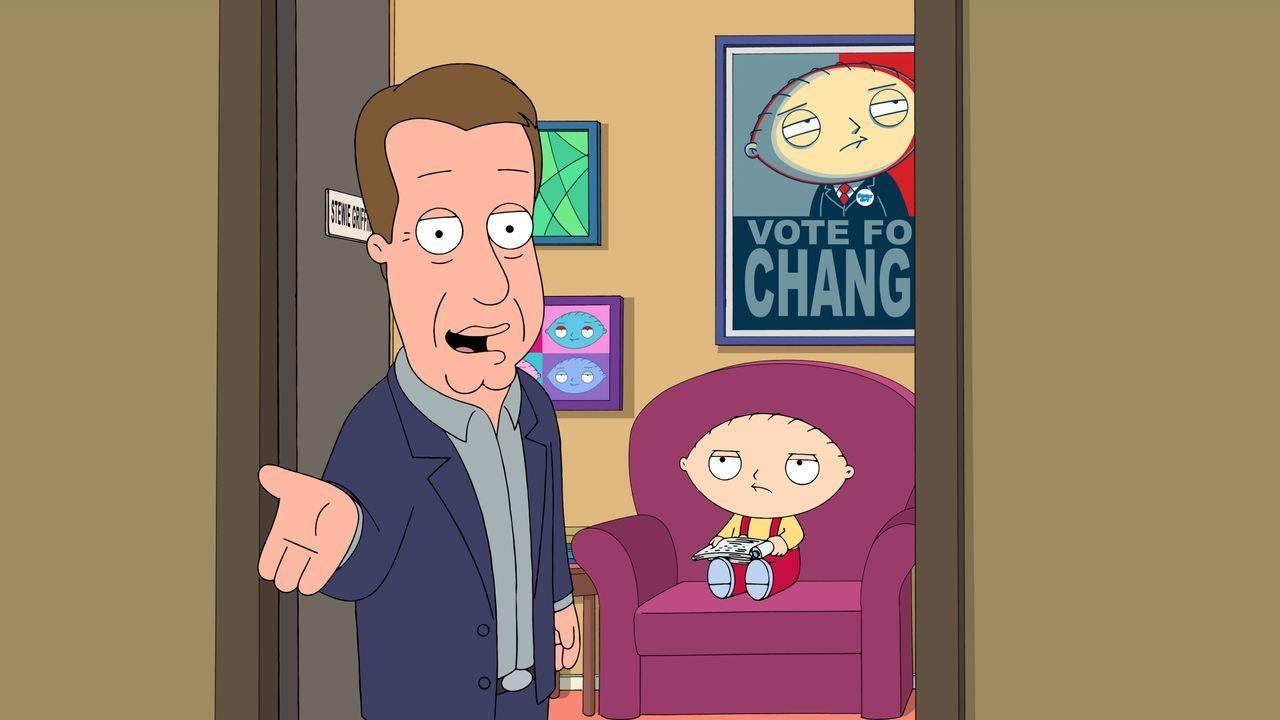 """Das passt Stewie (r.) gar nicht: Schauspieler James Woods (l.) gewährt einen Blick hinter die Kulissen der """"Family Guy"""" Serie. - Bildquelle: 2016-2017 Fox and its related entities. All rights reserved."""