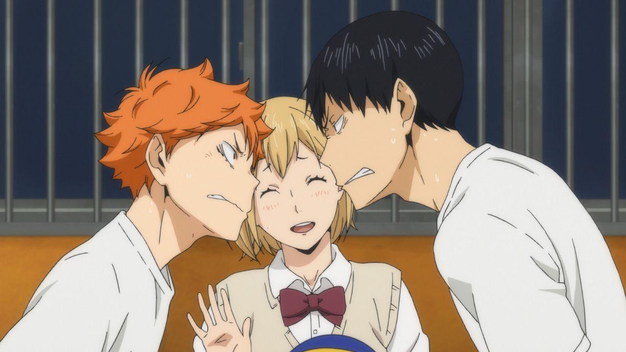 (v.l.n.r.) Shoyo Hinata; Hitoka Yachi; Tobio Kageyama - Bildquelle: H. Furudate / Shueisha, >HAIKYU!! 2nd Season< Project, MBS  All Rights Reserved.