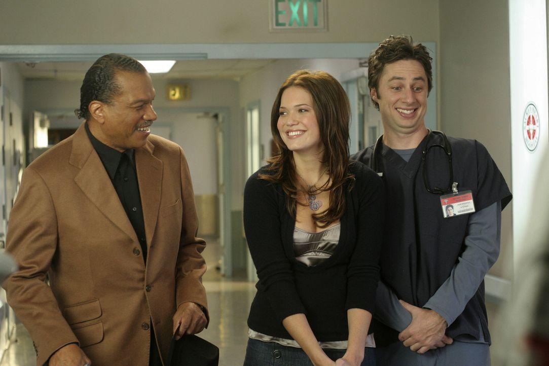 J.D. (Zach Braff, r.) und Julie (Mandy Moore, M.) haben es mit einem besonderen Menschen zu tun, nämlich mit Billy Dee Williams (Billy Dee Williams,... - Bildquelle: Touchstone Television