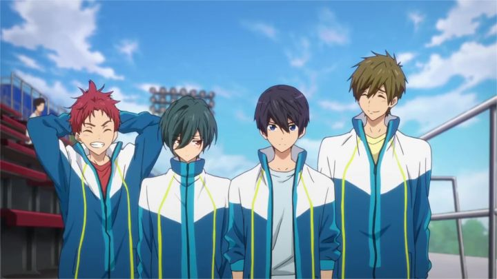 Asahi Shiina; Ikuya Kirishima; Haruka Nanase; Makoto Tachibana - Bildquelle: Ohji Kouji/Kyoto Animation/High Speed the Movie Production Committee