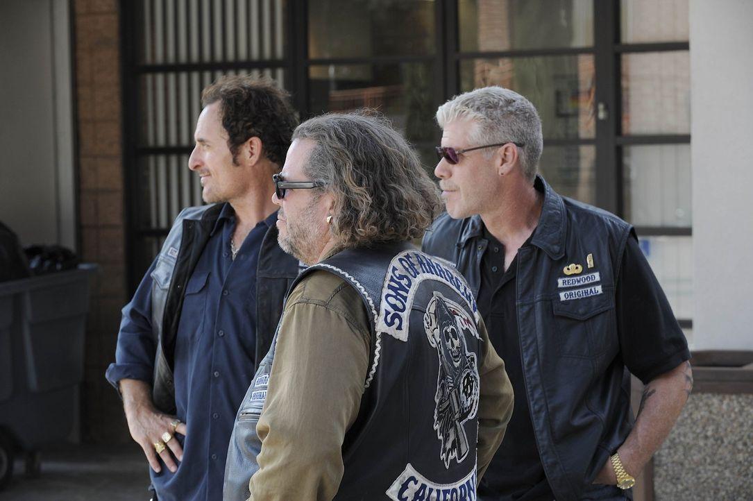 Deputy Chief David Hale macht Bobby (Mark Boone Junior, M.), Tig (Kim Coates, l.) und Clay (Ron Perlman, r.) weiter das Leben schwer ... - Bildquelle: 2008 FX Networks, LLC. All rights reserved.