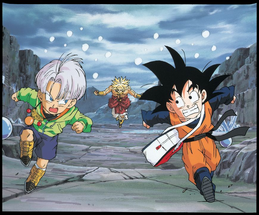 (v.l.n.r.) Trunks; Broly; Goten - Bildquelle: Bird Studio/Shueisha, Toei Animation Film   1994 Bird Studio/Shueisha, Toei, Toei Animation
