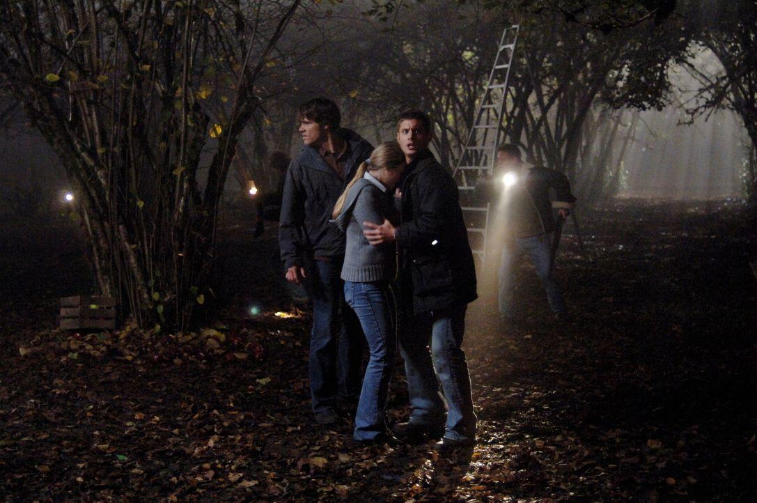 Müssen eine mörderische Vogelscheuche vernichten: Sam (Jared Padalecki, vorne l.), Dean (Jensen Ackles, vorne r.) und Emily (Tania Saulnier, vorne M... - Bildquelle: Warner Bros. Television