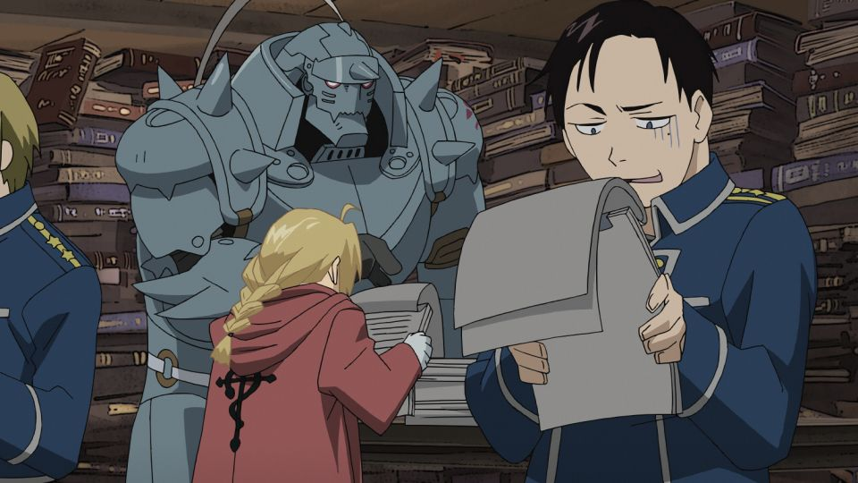 Alphonse Elric (hinten); Edward Elric (vorne); Maria Ross (r.) - Bildquelle: Hiromu Arakawa/FA Project, MBS