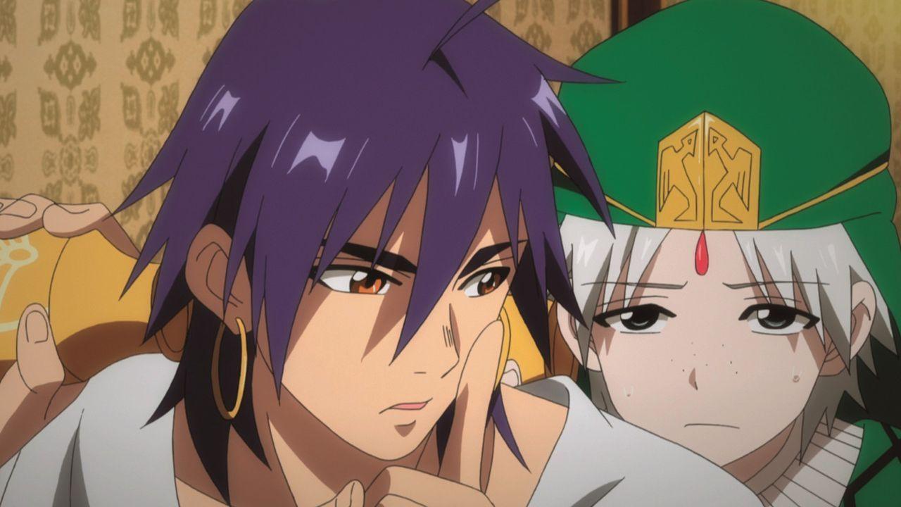 Ali Baba (r.) ist fest entschlossen, seiner Armut ein Ende zu setzen und begibt sich auf eine gefährliche Reise in die alten Ruinen eines Königspala... - Bildquelle: Shinobu Ohtaka / SHOGAKUKAN, Magi Committee, MBS