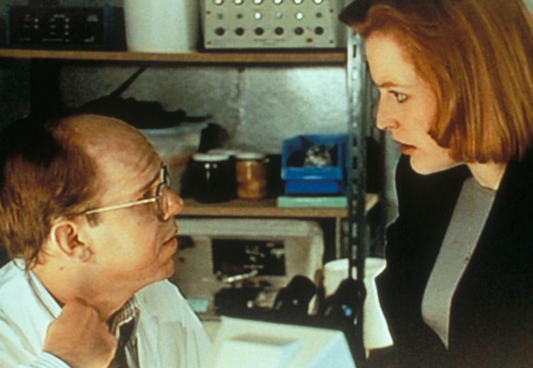 Der Wissenschaftler Osborne (Charles Martin Smith, l.) gesteht Scully (Gillian Anderson, r.), selbst mit einer Seuche infiziert zu sein, die eine ph... - Bildquelle: TM +   2000 Twentieth Century Fox Film Corporation. All Rights Reserved.