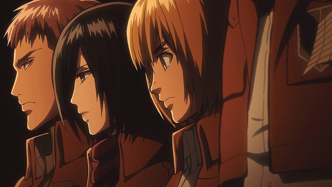 "(v.l.n.r.) Jean; Mikasa; Armin - Bildquelle: Hajime Isayama, Kodansha/""ATTACK ON TITAN"" Production Committee. All Rights Reserved."