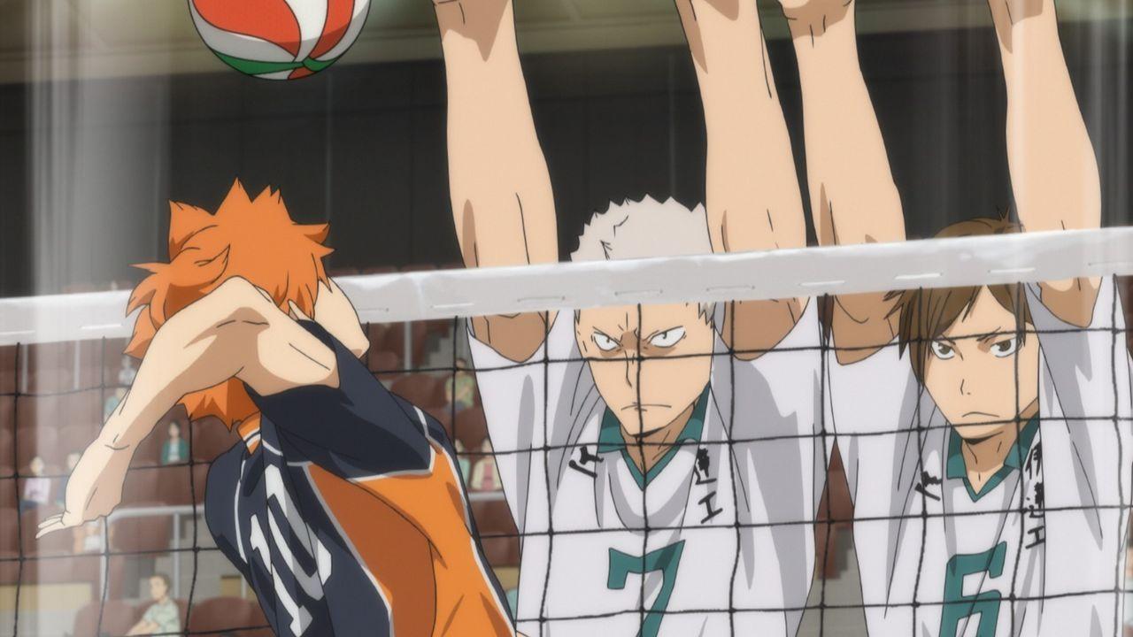 "Shoyo Hinata (l.); Takanobu Aone (M.); Kenji Futakuchi (r.) - Bildquelle: H.Furudate / Shueisha,""Haikyu!!?Project, MBS"
